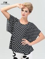 Plus Size Polka Dot Women Blouse Shirts Blusas Femininas 2015 Fashion Women Viscose O-neck Flutter Sleeve Tops SS14B017