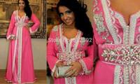 Vestido De Festa Scoop Neck Long Sleeve Beaded Lace Applique Pink Chiffon Long Dubai Kaftan Abaya Evening Dress Prom Dress 2015