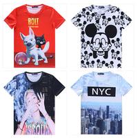Hot! 2015 New Women t shirt Miley Cyrus/cartoon/flowers O-Neck Short sleeve 3d t shirt 11models size M-XXL free ship