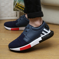 high quality  man sneakers leather 2014 fashion man flats autumn casual shoes sports breathable running shoe