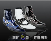 Free shipping mens combat boots PU leather stitching Britpop style rivet metal decoration laced up Pointed toe Man New 2015 bota