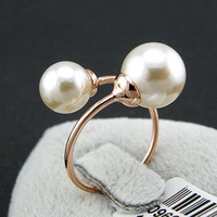 Statement big double pearl opening ring ,18k gold plated brand finger rins jewelry for women Valentine gift
