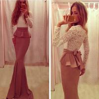 Spring 2015 new desigual fashion women sexy dress slim long sleeve patchwork lace dress vestidos femininos casual free shipping