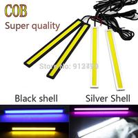 Ultra Bright 12V 12W Daytime Running Lights 14cm Length Daylight COB Car LED DRL Day time lamp Waterproof 2pcs/pair