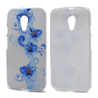 Blue Petals Flowers TPU Gel Skin Cover Case For Motorala MOTO G2 Gen 2 XT0169 XT1063 XT1069 Phone Bags Cases Free Shipping