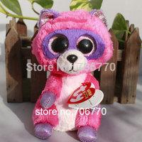 "IN HAND!  MINT 2015 Ty beanies Boo Big eyes Animal ~Roxie The Pink Raccoon~Plush doll 6"" 15cm Stuffed TOY ~~ FREE SHIP"