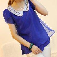 Organza puff sleeve cutout peter pan collar chiffon blouses short-sleeve summer female cute peter pan shirt tops women