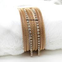BR5313 Newest European multilayer gold mesh men bracelets,women's flexible bangles ,charm magnetic tube bar clasp accessories