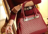 2015  Diamonds crystal  Crocodile Grain Evening bag fashion casual alligator pattern handbag red  patent leather shoulder bag