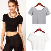 2014 New Women Best Sell U neck Sexy Crop Top Ladies Short Sleeve T Shirt Tee Short T-shirt Basic Stretch T-shirts
