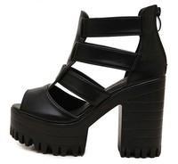 black fashion summer platform shoes woman open toe sandals for women shoes ladies pumps thick high heels party GL150002