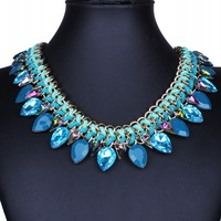 Luxury Vintage Necklace Jewelry 2015 New Fashion Women Statement Necklaces Handmade Colar Chokers Crystal Rhinestone  DFX-771