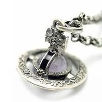Size; 2.5cm women Silver White titanium black glue heart Saturn Vivian necklace Pendant Silver Hook wholesale 2pcs Jewelry Two