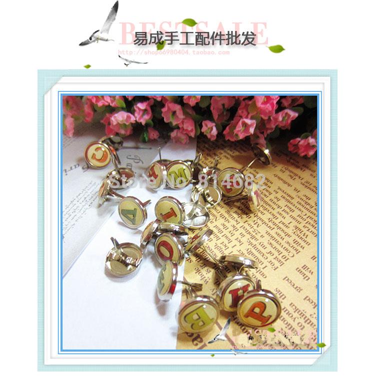 12.83*3.33*11.03 Yellow Pearl Letter Decorative Pearl Brads to DIY Scrapbook And Gift Box 52pcs/lot Free Shipping(China (Mainland))