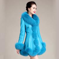 2014 PU fox fur sheepskin clothes female medium-long fur leather coat down slim outerwear thickening