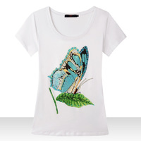 [Amy] 2015 new women High quality cotton t shirt recommended burst blue butterfly and the wind tee T-shirt size m-XXL 3825