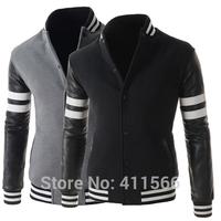 Men's Printing Sport Casual Baseball College Uniform Short Jackets Sweatshirts Slim Fit Stand Collar Coats 2015 New Free Shiping
