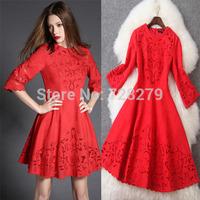 2015 Spring Women's Fashion Vintage Jacquard Empty thread Embroidery Half sleeve slim Red Dress