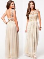 Women Sweet Long Dress O-Neck Sleeveless Backless Chiffon Lace Floor- Length Dress Women