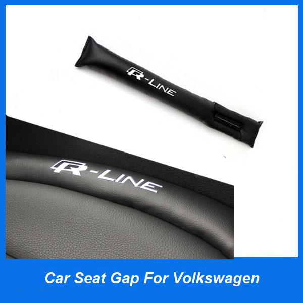 2pcs PU leather R Line Car seat gap Emblem for Volkswagen POLO Jetta Passat B5 B6 B7 Golf scirocco touran CC Tiguan Bora Tourage(China (Mainland))