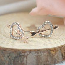 2015 Fashion fashion accessories Cupid love an arrow through a heart Stud Earrings Delicate earrings zSS0003