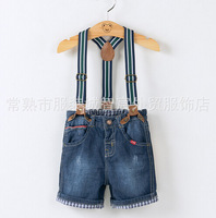 NZK13 brand 2015 kids shorts jeans for boys overalls 1-8 age kid boy overall free shipping 6pcs/ lot
