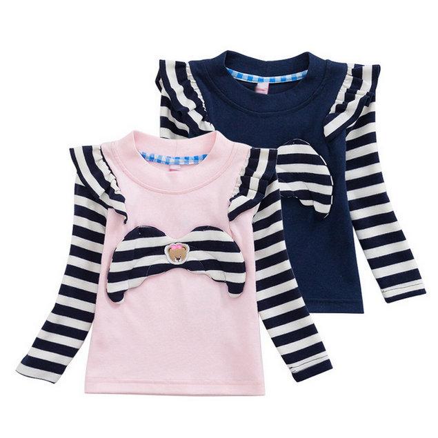 2015 New Design Casual Tops Tees Girls Bears T-shirt Kids Long Sleeve t-shirts Baby Embroidery tshirt Children Cartoon Clothing(China (Mainland))