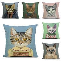 Hot Sell Pillow cover 100% Linen Decor Cushion Cover home decor car seat cover Uniform cat shape Nap pillow Cover