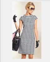 hot sale women dress 2014 summer new fashion vintage dress round neck dress short sleeve dress straight free shipping