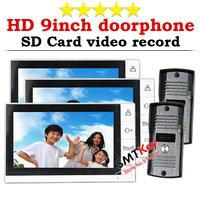 3T2 (3pcs monitor + 2pcs camera) 9 inch SD card Video Recording Video doorphone Color intercom system