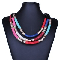 Bohemia Vintage Necklace Handmade Fashion Colar Chokers Statement Necklaces Multilayer Jewelry  For Women Accessories DFX-768