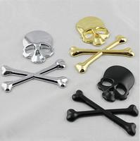 High quality 3D Skull Metal Skeleton Crossbones Car Sticker Label Skull Emblem Badge car styling stickers Free shipping