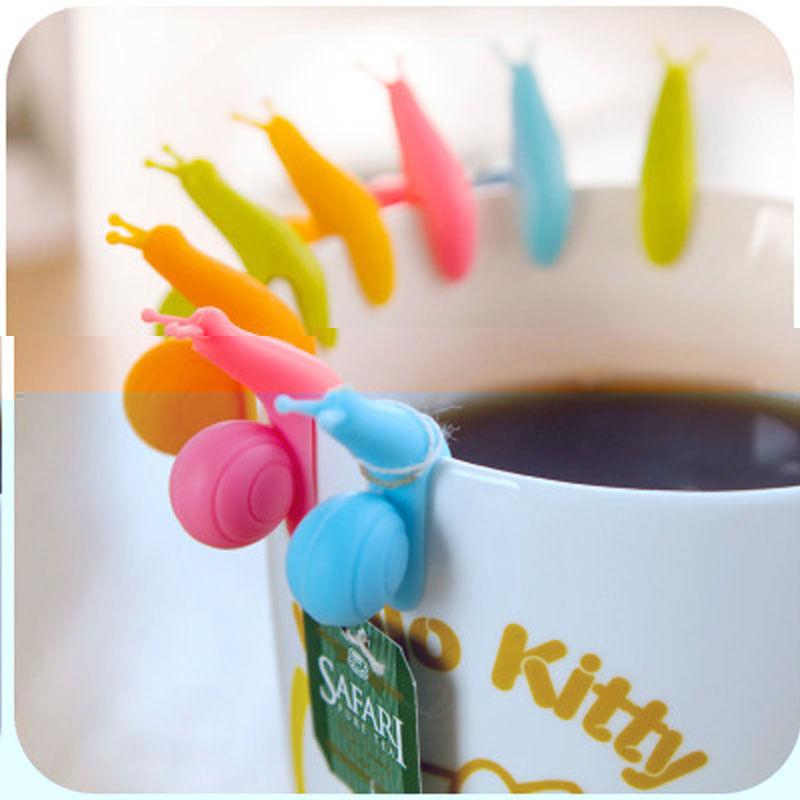 Randome Color!! 5 PCS Cute Snail Shape Silicone Tea Bag Holder Cup Mug Candy Colors Gift Set GOOD(China (Mainland))