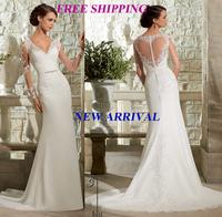 E125 2015 bride sheer back lace long sleeve wedding dress plus size custom made bridal gown gowns vestido de noiva casamento