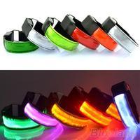 LED Safety Reflective Belt Strap Snap Wrap Arm Band Shine Armband for Running
