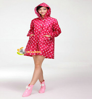 Korean woman New Fashion Womens Waterproof Outdoor Outerwear Hooded Cover Rain Coat Dot Pockets Knee Length Raincoat EJ676322