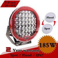 """9"""" inch 185W Round LED Work Light 12V 24V IP67 SPOT FLOOD Led Driving Light For OffRoad Truck Tractor ATV SUV Led Fog Light 96W"""