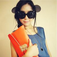 Free shipping 2015 Unisex Fashion Flip retro glasses White/black/yellow/red Plain glasses Novel sexy sunglasses EJ676149