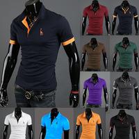 HOT!Free Shipping 2015 New Men's Casual Slim Fit Stylish Short-Sleeve Shirt Cotton T-shirt Size:M-XXXL