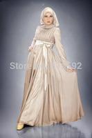 2015 New High Neck Long Sleeve Custom made Satin muslim clothes women long dress islamic kaftans dubai Evening gown