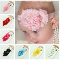 New Baby Rose Flowers Headbands Girl Chiffon Flower Headwear Headbands Kids Pearl Bow Hair decoration Headbands
