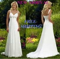 E121 2015 fashionable bride chiffon beach wedding dress train plus size custom made bridal gown gowns vestido de noiva casamento