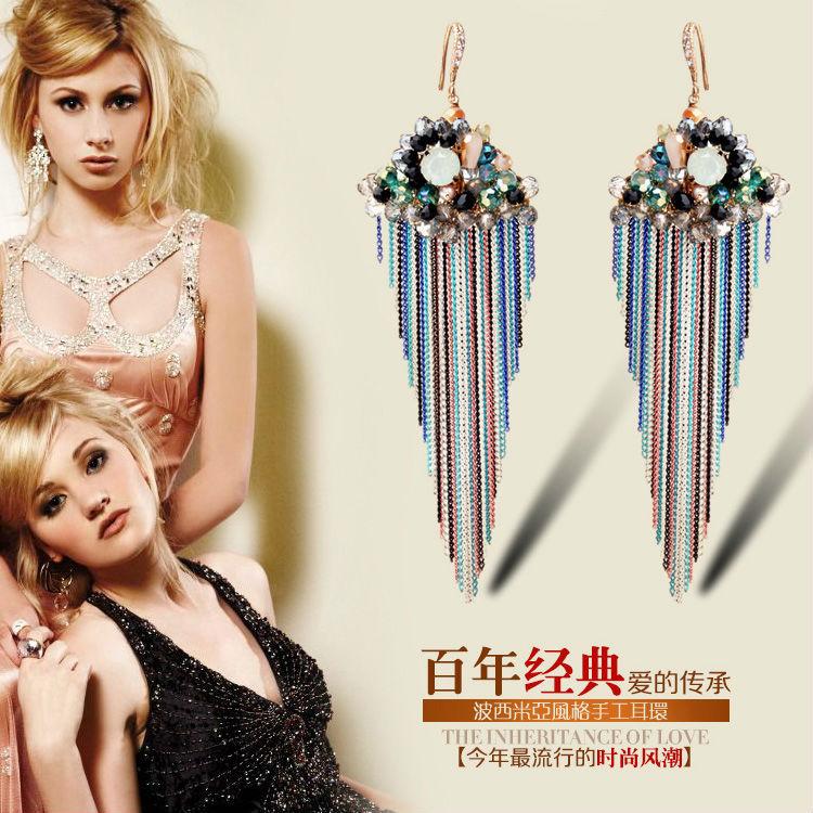 Fine decoration luxury atmosphere long multicolor unusual natural opal jewelry tassel earrings elegant design(China (Mainland))