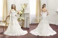 2015 White Organza Mermaid Wedding Dress Sweetheart Appliques Crystal Asymmetric Ruffled Sweep Train Backless Bridal Gown V014