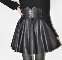 2015 Womans Sexy Slim Rivet PU Leather Skirt High Waist Solid Color Black Tutu Skirts Fashion Bust Skirt