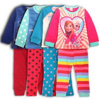 Free Shipping Girl's Underwear Suit Frozen Design Fleece Lining Pajamas Suit Cotton Drop Shipping Wholesale