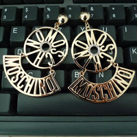 Fashion Jewelry Vintage Letter Classic Round Drop Earrings for Womens Rose Gold Crystals Dangle Earring Stage Show Accessories