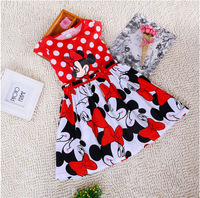 Retail New 2015 summer children kids girl one piece dress Cartoon Circle Point Sleeveless girl princess dress YA20