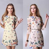High Street Fashion Summer Autumn Women Lace Casual Dress Butterfly Print Vestidos de Renda Plus Size XXL New Designer 88500