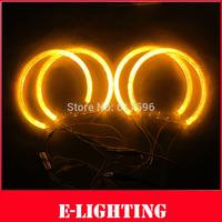 4pcs 131mm COB LED Angel Eyes Halo Ring For BMW E36/E38/E39/E46 Projector Amber Yellow Orange